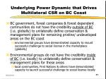 underlying power dynamic that drives multilateral csr on bc coast