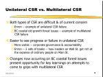 unilateral csr vs multilateral csr