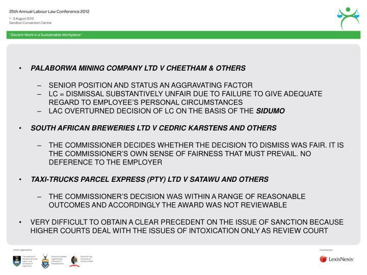 PALABORWA MINING COMPANY LTD V CHEETHAM & OTHERS