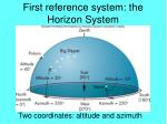 first reference system the horizon system