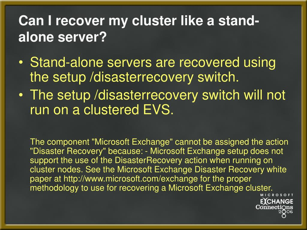 Can I recover my cluster like a stand-alone server?