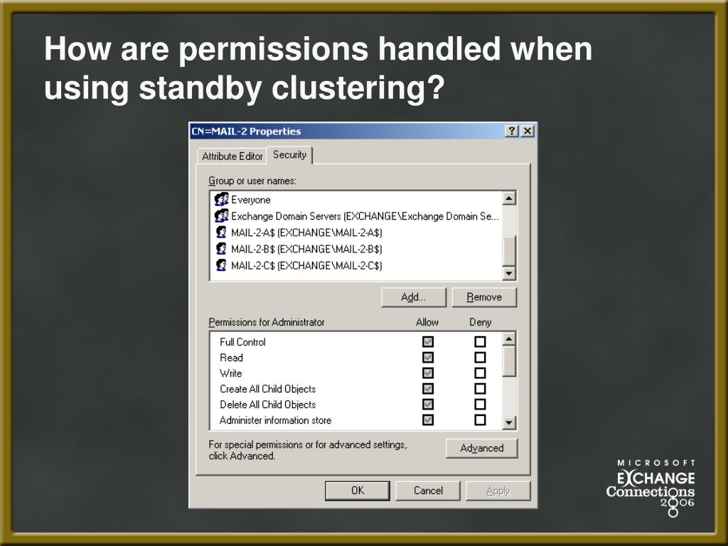 How are permissions handled when using standby clustering?