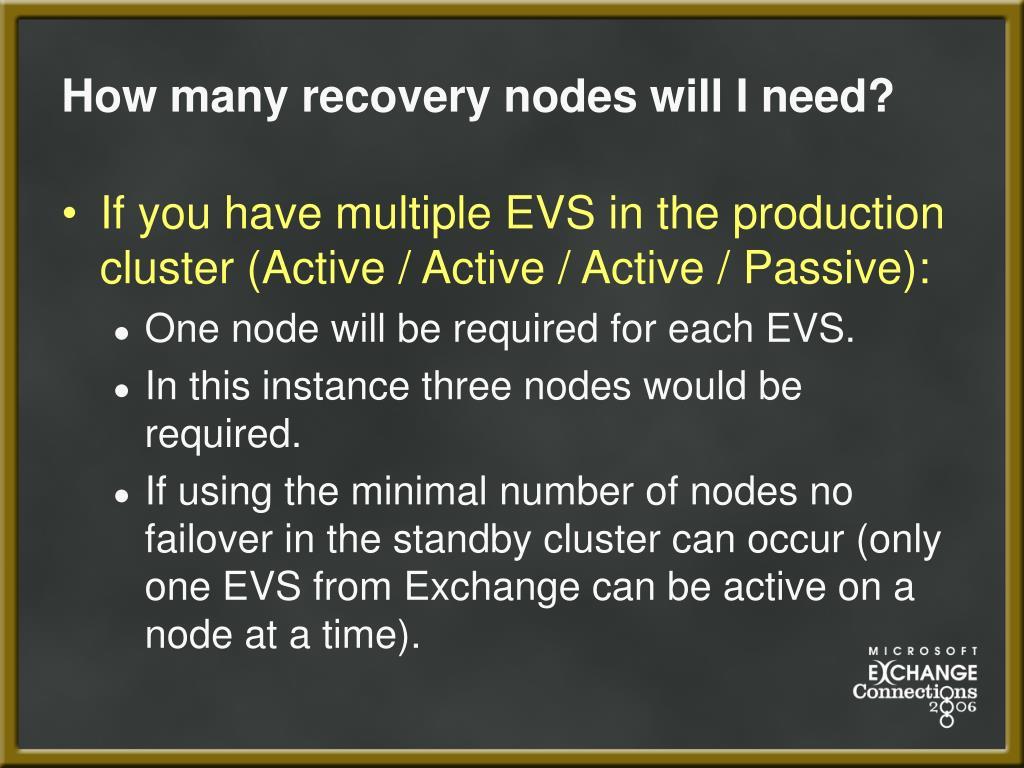 How many recovery nodes will I need?