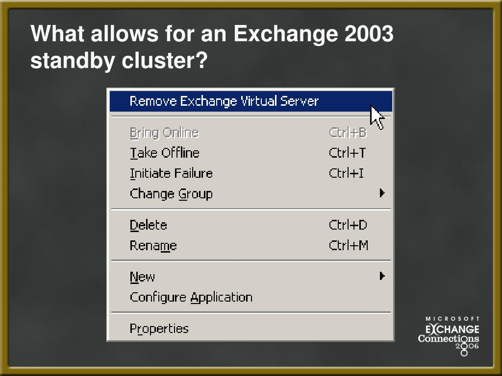 What allows for an Exchange 2003 standby cluster?
