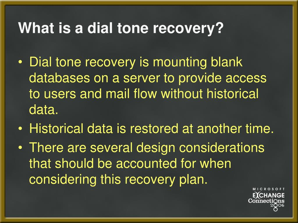 What is a dial tone recovery?