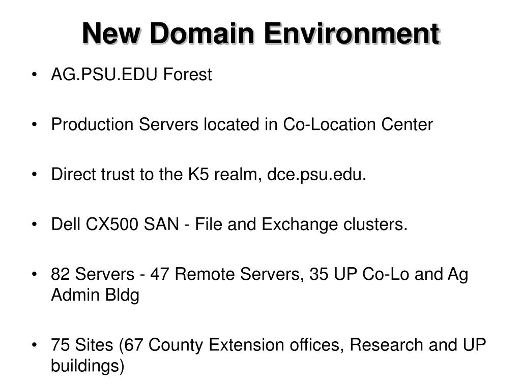 New Domain Environment