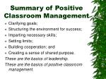 summary of positive classroom management