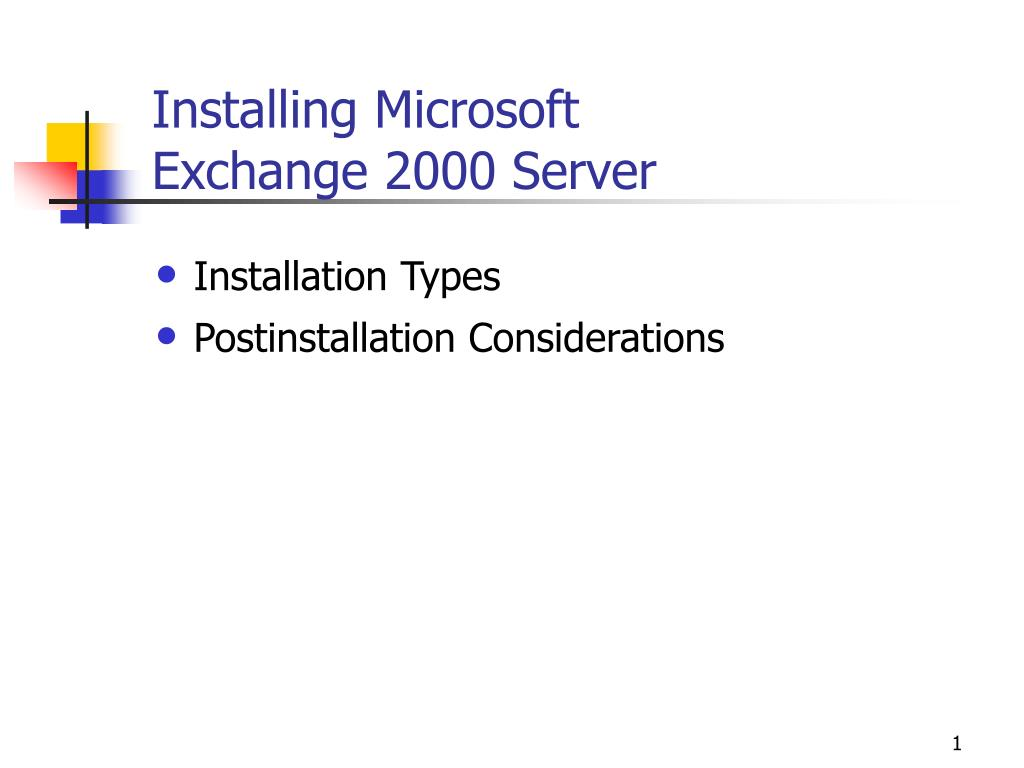 installing microsoft exchange 2000 server l.
