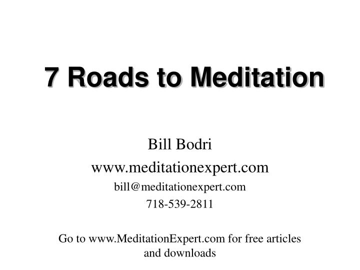 7 roads to meditation n.