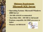 minimum requirements microsoft sql server