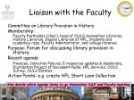 liaison with the faculty