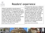 readers experience