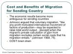 cost and benefits of migration for sending country