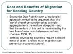 cost and benefits of migration for sending country1