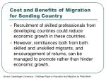 cost and benefits of migration for sending country2