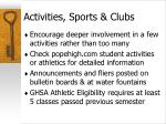 activities sports clubs