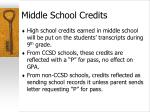 middle school credits