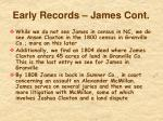 early records james cont