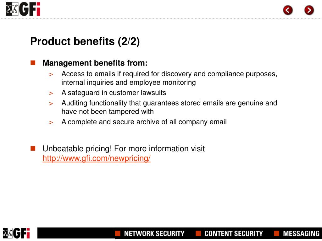 Product benefits (2/2)