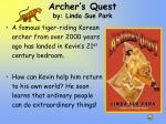 archer s quest by linda sue park