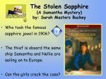 the stolen sapphire a samantha mystery by sarah masters buckey