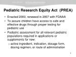 pediatric research equity act prea