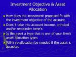 investment objective asset allocation