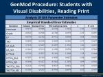 genmod procedure students with visual disabilities reading print