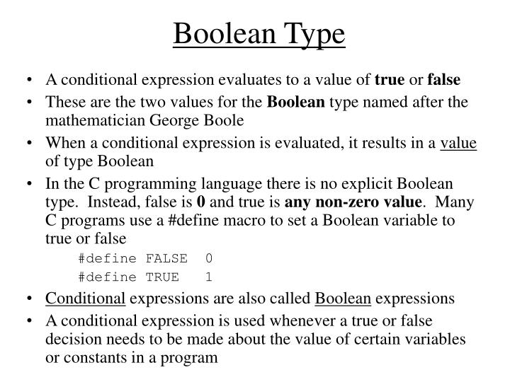 Boolean type