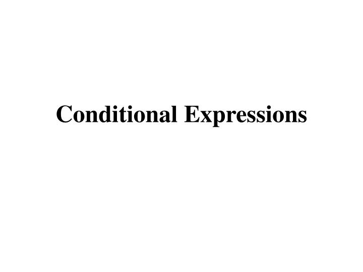 conditional expressions n.