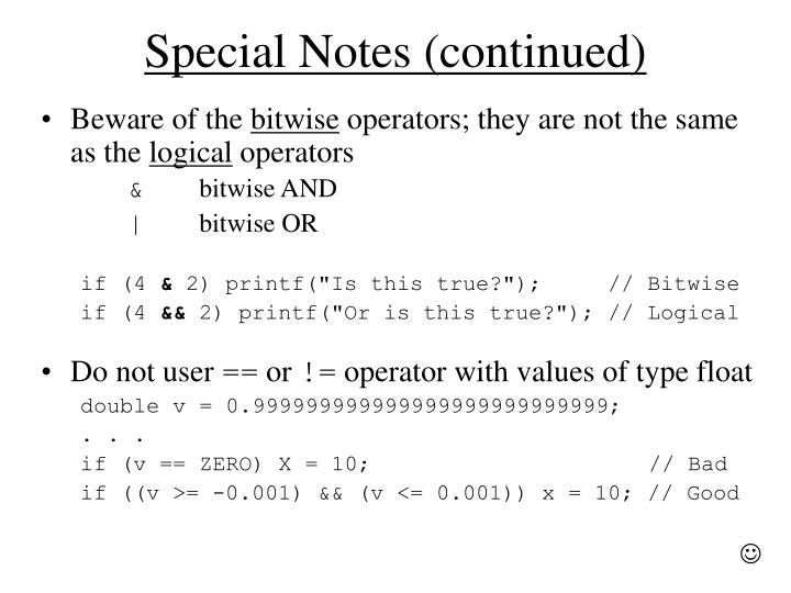 Special Notes (continued)