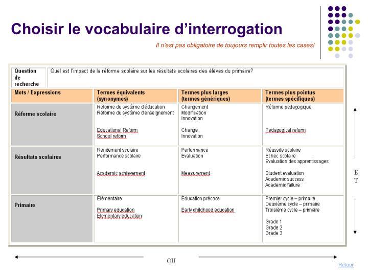 Choisir le vocabulaire d'interrogation