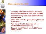 status update nov 2006