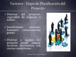 factores etapa de planificaci n del proyecto