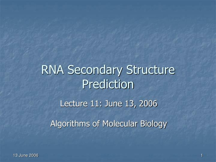 rna secondary structure prediction n.
