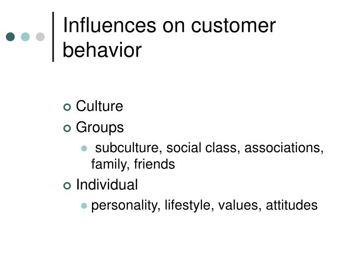 Influences on customer behavior