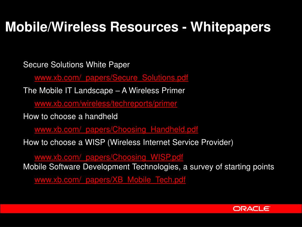 Mobile/Wireless Resources - Whitepapers