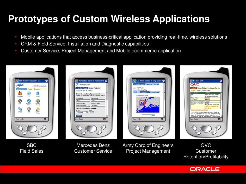 Prototypes of Custom Wireless Applications