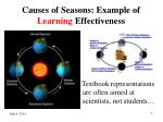 causes of seasons example of learning effectiveness