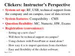 clickers instructor s perspective