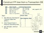 construct fp tree from a transaction db