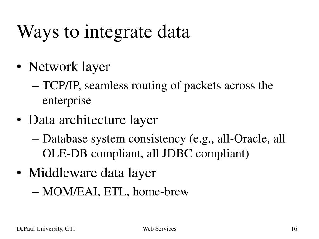 Ways to integrate data