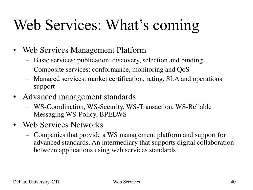 Web Services: What's coming