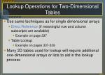 lookup operations for two dimensional tables