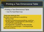 printing a two dimensional table