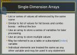 single dimension arrays