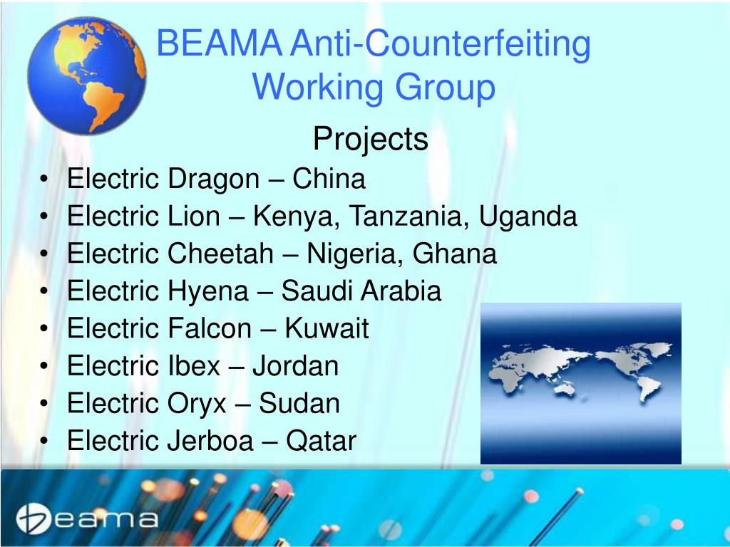 BEAMA Anti-Counterfeiting