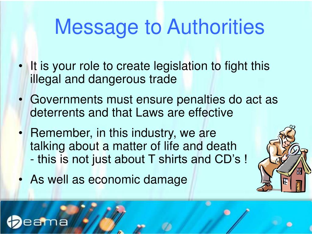 Message to Authorities