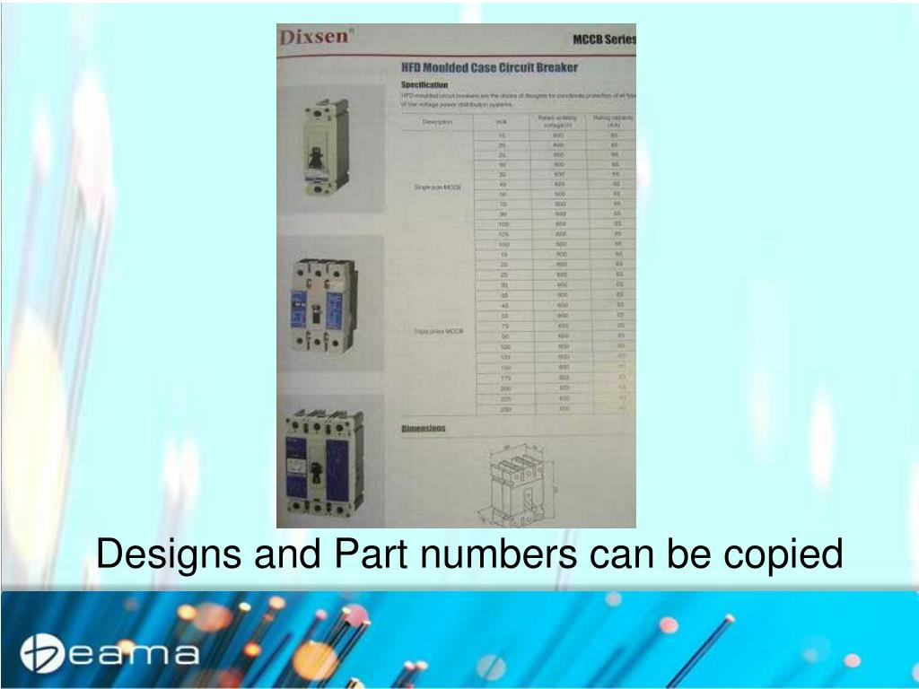 Designs and Part numbers can be copied