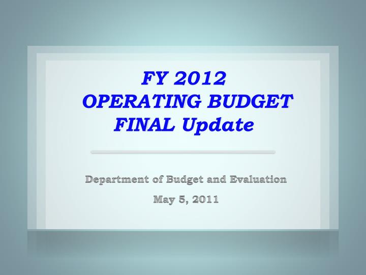 fy 2012 operating budget final update n.